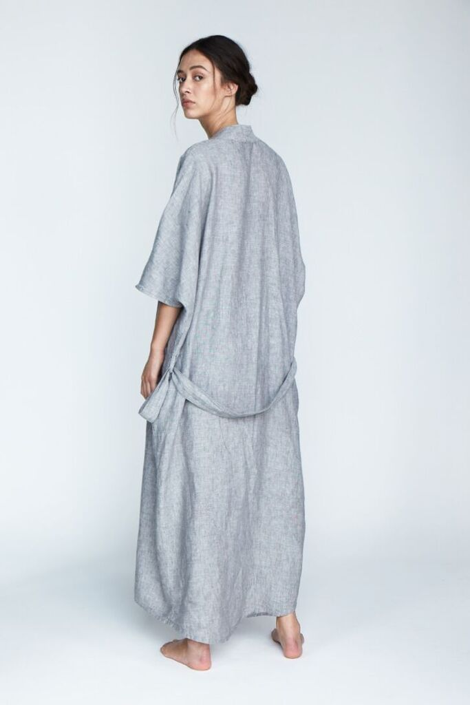The 'Evie' Kimono Robe in Fog - Andrea & Joen French Linen Loungewear Collection shot by Sylve Colless