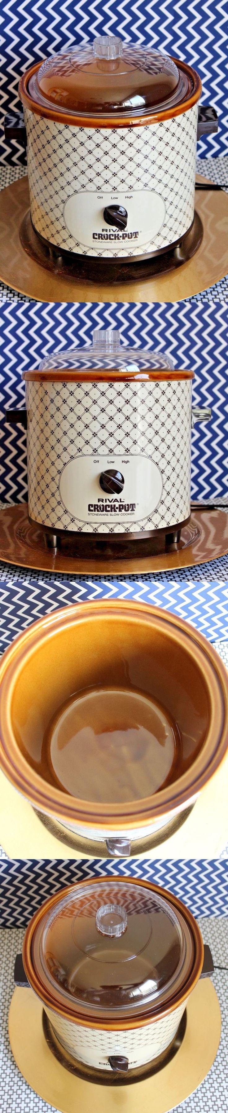 Vintage Small Appliances 116013: Vintage Rival Crock Pot Slow Cooker 3100P Brown Plaid W Original Recipe Booklet -> BUY IT NOW ONLY: $39.99 on eBay!