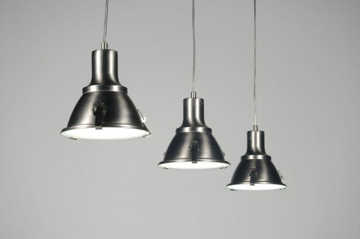 Hanglamp 83576 industrie look staal rvs rond langwerpig