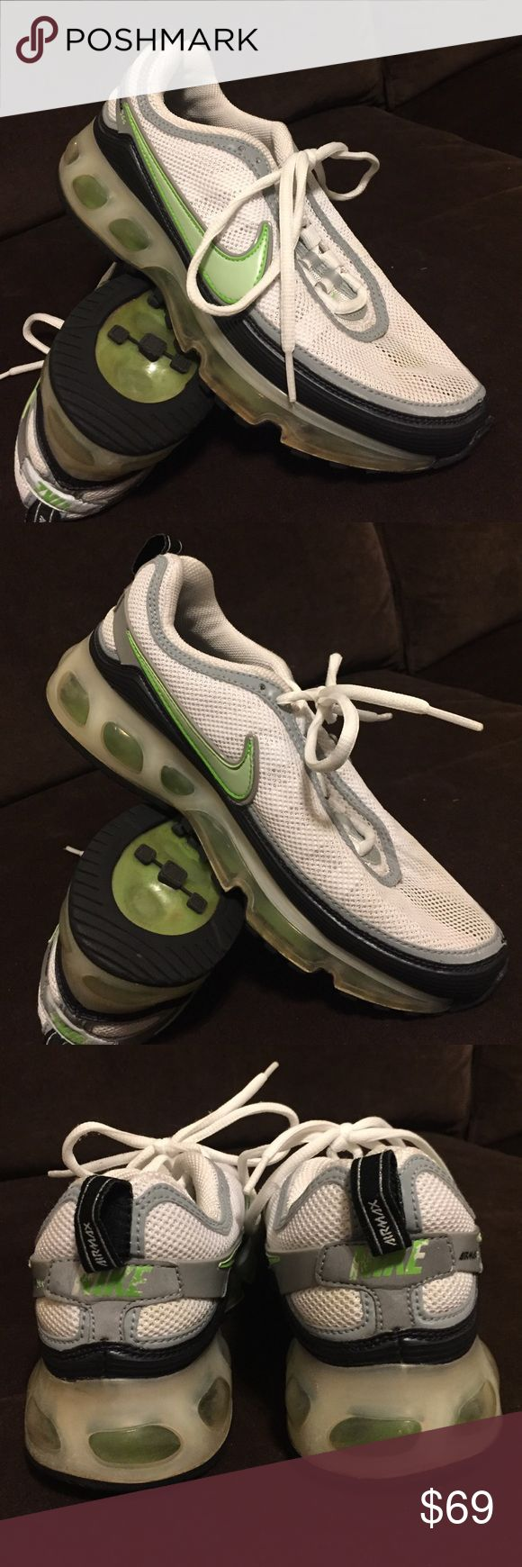 Nike air max 360 white pea green size 7 38 vintage Mint vintage Nike air max 360 white black pea of green. Size 7 38 EUR full and tight air bladders Nike Shoes Athletic Shoes
