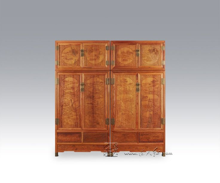 New Modern Solid Wood Bed Room Cabinet Rosewood Wardrobe Top Grade Home Carving Furniture Padauk Garderobe Annatto Closet Retro