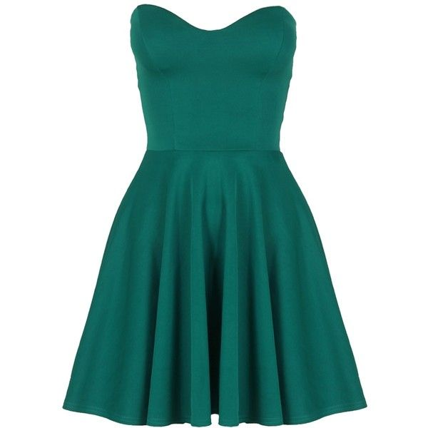 Teal Green Boob Tube Flare Dress ($30) ❤ liked on Polyvore