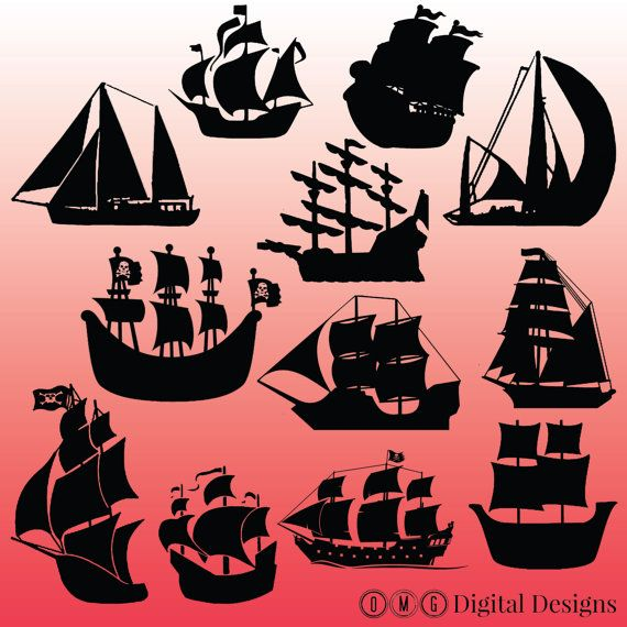 12 Pirate Ship Silhouette Clipart Images by OMGDIGITALDESIGNS