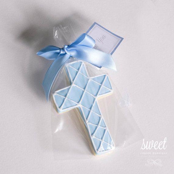 Baby Boy Cross Cookie Favors // One Dozen Sugar Cookies via Etsy