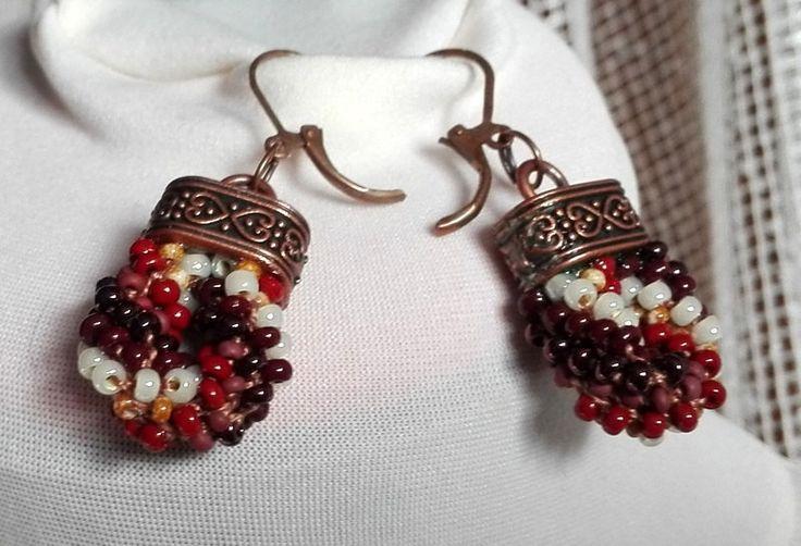 Brown Beauty, Earrings, Beaded Rope Earrings, Crochet Bead Earrings, Dangle, Chandelier by IMAGINARIUM2015 on Etsy
