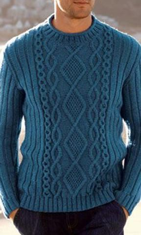 Men's Hand Knitted Crewneck Sweater.17B