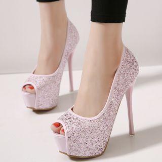 Pink Glitter Peep Toe Stilettos