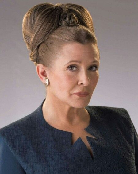 Carrie Frances Fisher was an American actress, screenwriter, author, producer, and speaker. She was the daughter of singer Eddie Fisher and actress Debbie Reynolds. Fisher was known for playing Princess Leia in the Star Wars film series.  R.I.P. (October 21, 1956 - December 27, 2016).