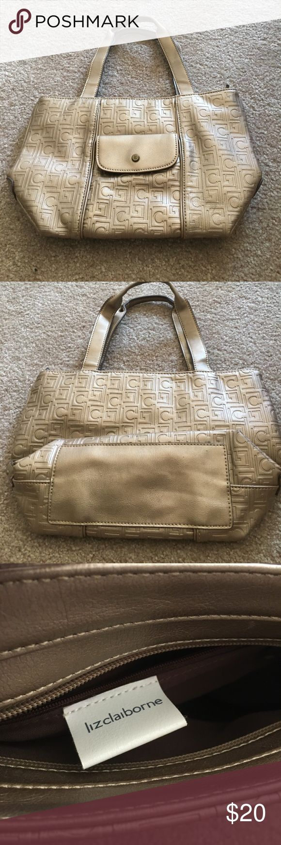 Liz Claiborne gold tote bag like new Like new! No signs of wear or any stress marks. Zippers work great! About medium size. Roughly 4 inches tall. 7 inches wide. Only used a handful of times. Liz Claiborne Bags Shoulder Bags