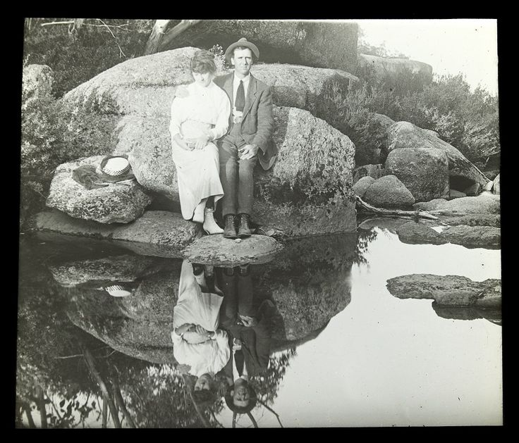Unknown couple by the Crystal Brook, Mt Buffalo (1890 -1900's). Photo by Alice Manfield , 1878-1960.
