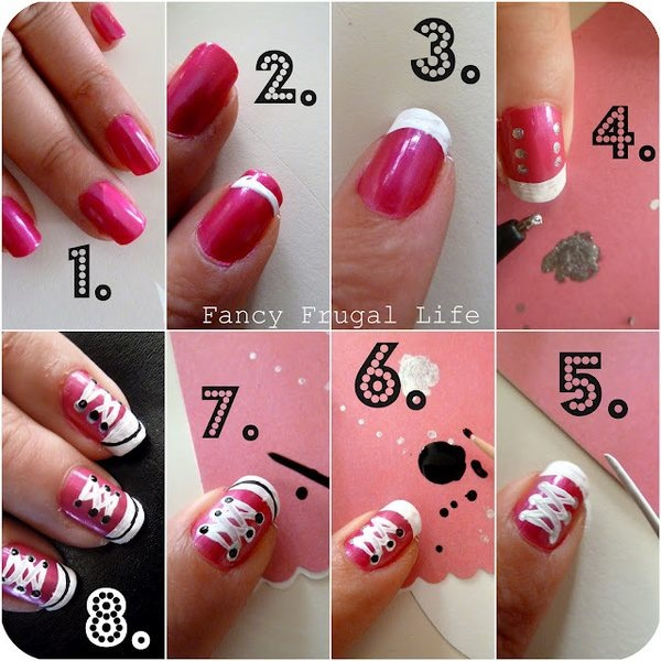 Adorable sneaker nails! Olivia Whitlow me and you need to try this!!!!
