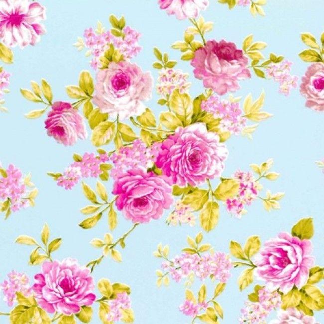 Inpakpapier vintage rozen lichtblauw 65101B