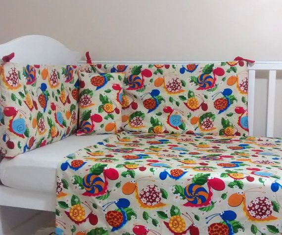 Bright colourful cot bumper set by Tinytoadcreations on Etsy