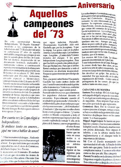 """En el día del periodista deportivo, recordamos a la pluma sagrada de Osvaldo Ardizzone, en una nota de El Gráfico de 1973, recuperada por """"Independiente, el orgullo nacional"""""""