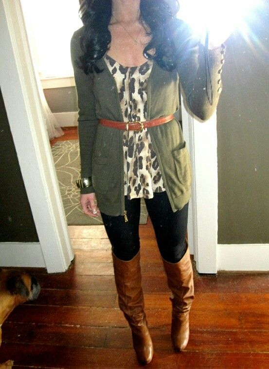Olive cardi (or if you want, dress shirt) + leopard + camel boots & belt + black leggings