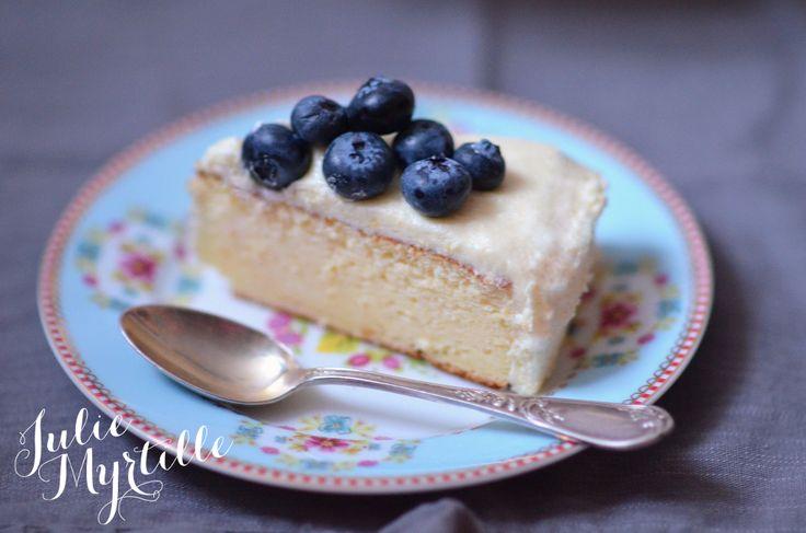 Cheesecake Japonais, glaçage au chocolat blanc