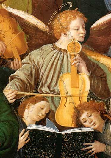 Gaudenzio Ferrari: Frescoes of the Cathedral of Saronno (ca. 1535) showing an early viola da gamba in the form of a vihuela (guitar)