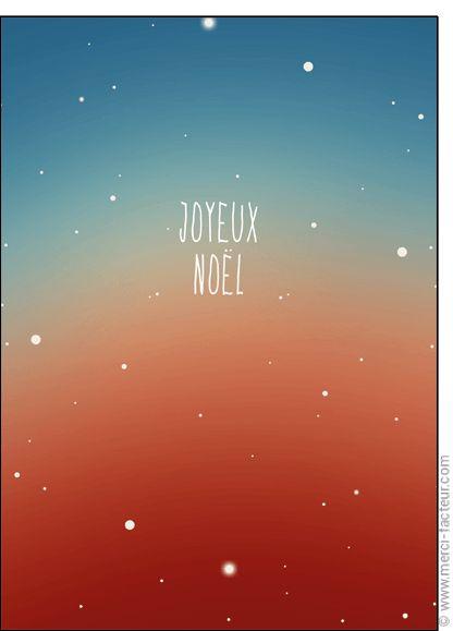 """#Carte #Noël """" #JoyeuxNoël """" sur un d�grad� �toil� pour envoyer par La Poste, sur Merci-Facteur !"""