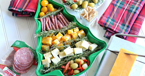 Re-purpose a Christmas tree cake pan to create a festive cheese plate as an easy holiday party appetizer.