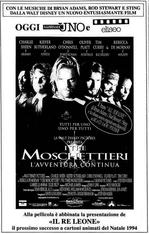"""""""I tre moschettieri"""" (The Three Musketeers, 1993) di Stephen Herek, con Charlie Sheen, Kiefer Sutherland e Chris O'Donnell. Italian release: February 25, 1994 #MoviePosters #TheThreeMusketeers"""