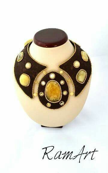 Kolia z bursztynu bałtyckiego oraz pozłacanych koralików ze srebra. #ramart #kolia #collar #necklace #bursztyn #amber #balticamber