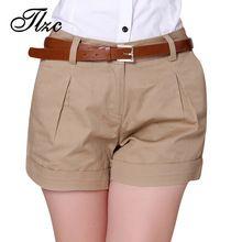 2017 Corea Del Verano Mujer Pantalones Cortos de Algodón del Tamaño S-3XL Nuevo Diseño de Moda de Señora Casual Pantalones Cortos de Color Sólido de Color Caqui/Blanco(China (Mainland))
