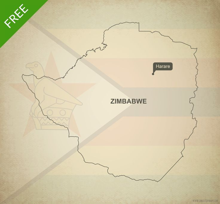 Free Vector Map of Zimbabwe Outline The