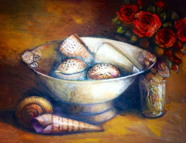 Shells next to roses by Liesel Brune