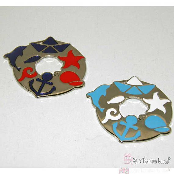 Silver Tone Metal Summer Charm - Red Enamel Color - Pink Enamel Color - Blue Enamel Color - Greek Product - Summer theme - Sea theme