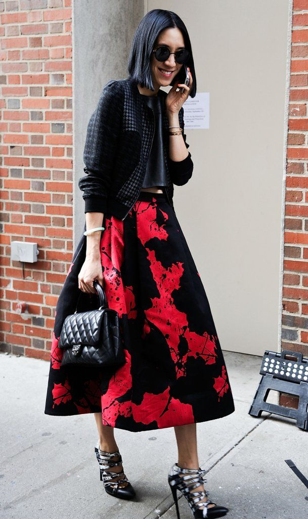 eva chen in tibi skirt and balenciaga heels