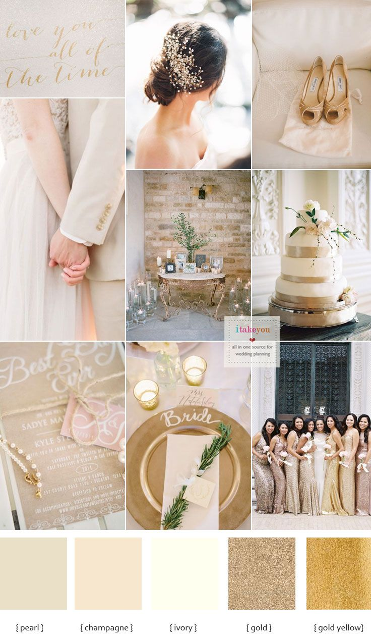 The style of the wedding is a big aspect of choosing the wedding color scheme. Champagne wedding colors schemes - modern tone with a chic wedding color palette. A delicate combination of champage ivory pearl and  gold