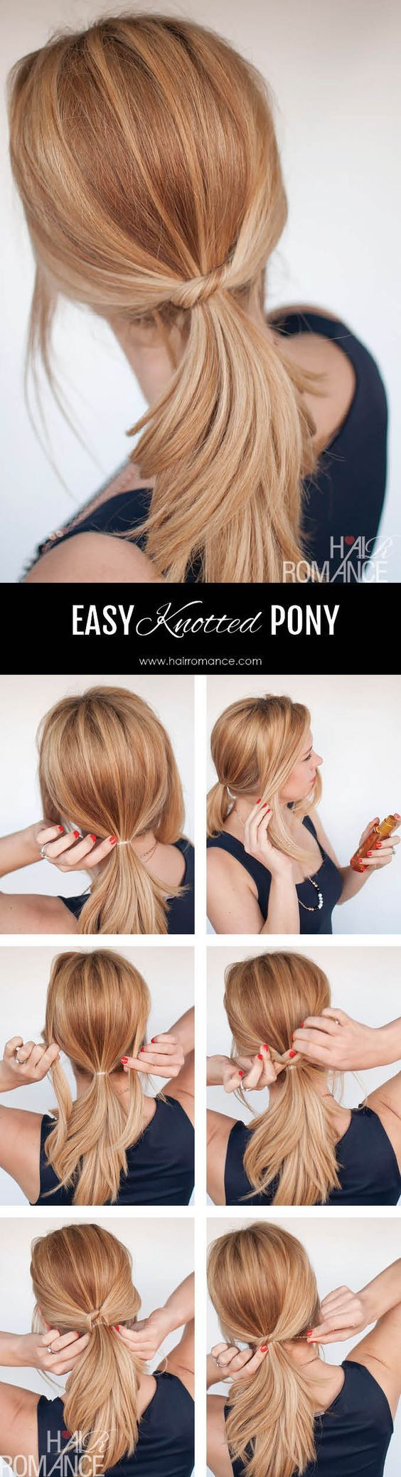 Easy knotted pony hairstyle