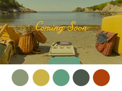 Color palettes inspired by Wes Anderson films.