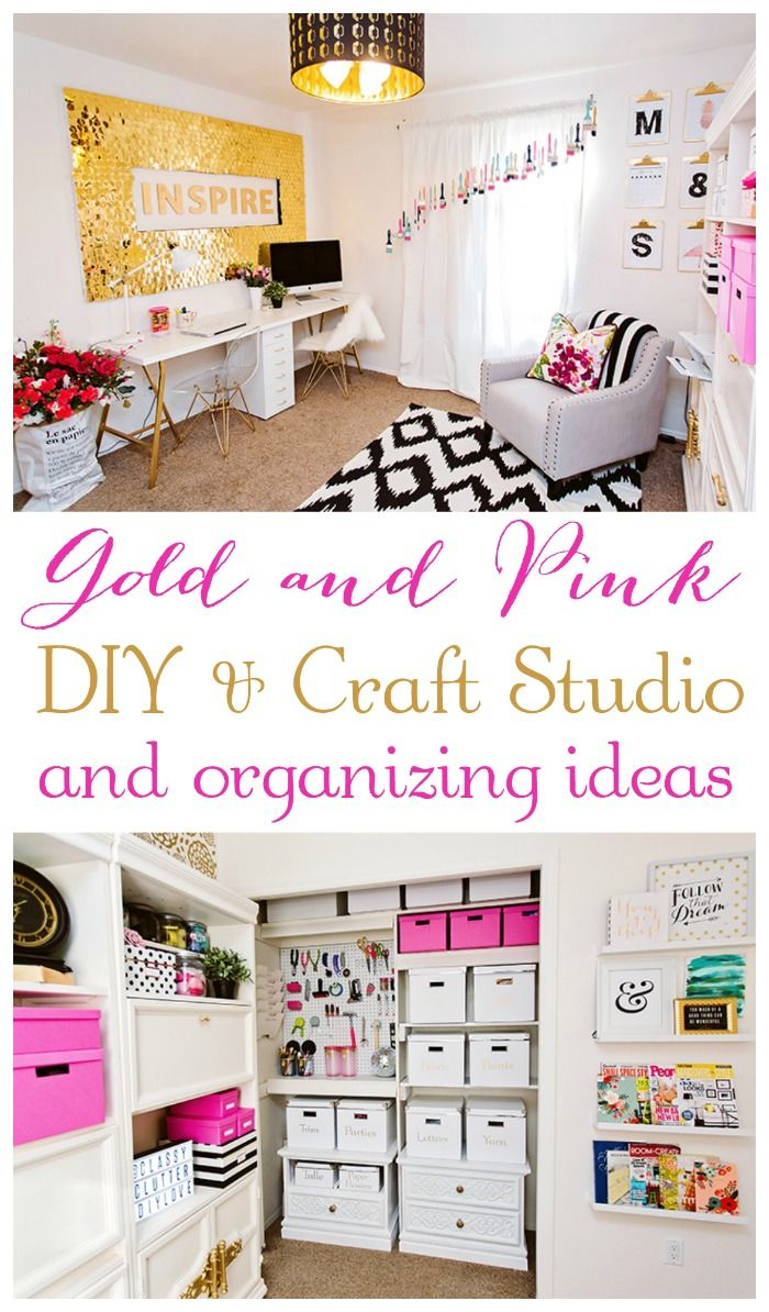 Craft Studio Makeover and organizing ideas! Love this gold and pink craft room!