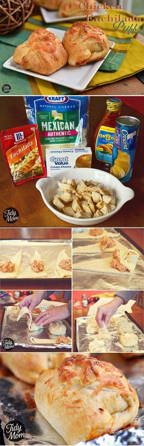 Turn chicken enchiladas into finger food! Chicken Enchilada Puffs #recipe at http://TidyMom.net