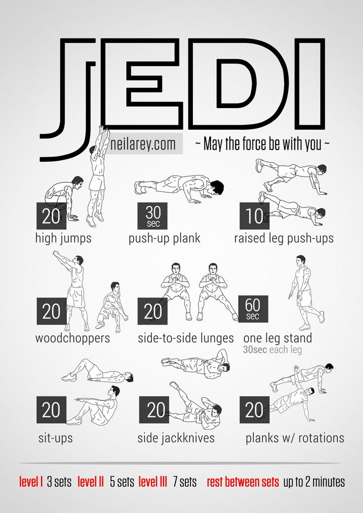 Jedi Workout What it works: Calves, chest, forearms, triceps, biceps, deltoids, glutes, lateral abs, adductors, abs, core.