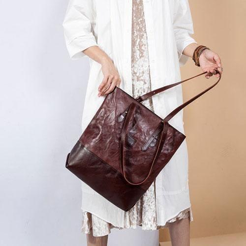 Genuine Leather Tote Handbag Handmade Crossbody Bag Shoulder Bag Designer Bag Purse For Women