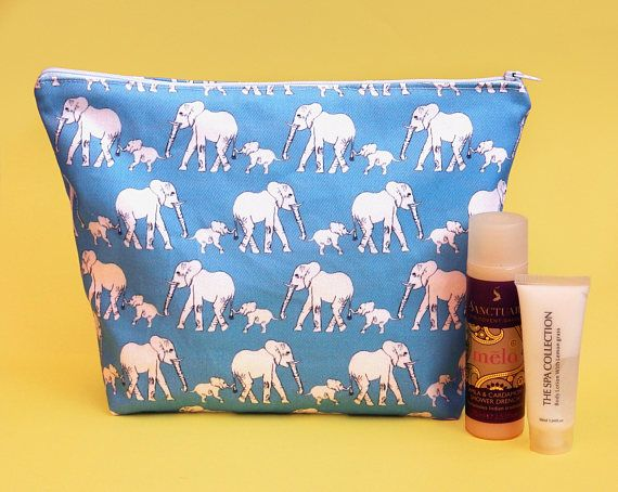 Elephant makeup bag  large cosmetics bag  elephant lover