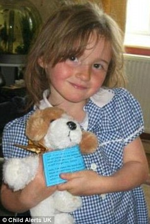 Missing: April Jones, 5, was last seen getting into a stranger's van at about 7.30pm on Monday
