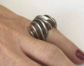Tallada en anillo de plata, anillo de plata oxidada, anillo de plata esterlina, anillo sterling oxidado, grabado anillo plata, anillo abstracto plata, esterlina
