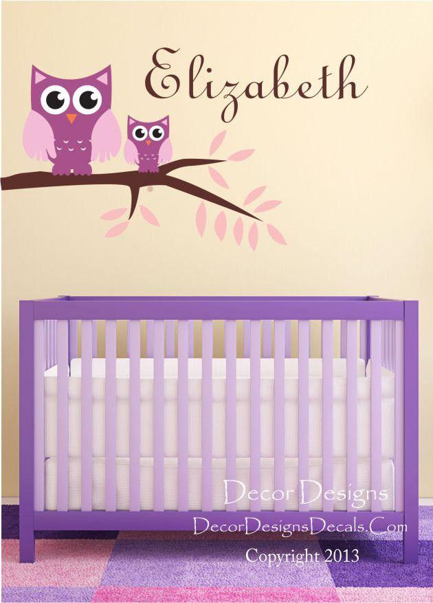 Cute Owls Custom Name Vinyl Wall Decal Sticker
