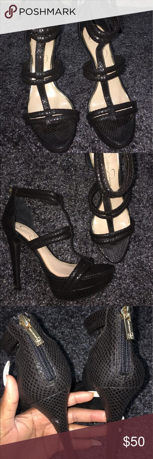 """Black Jessica Simpson Heels ONLY TRIED ON, no box... Small incision on heel (3rd pic) not noticeable at. Measurements: 5.5"""" heel Width: B(M) Jessica Simpson Shoes Heels"""