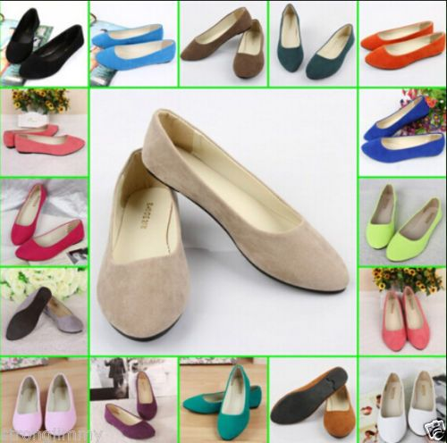 New-Women-Lady-Boat-Shoes-Casual-Flat-Ballet-Slip-On-Flats-Loafers-Single-Shoes