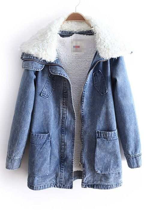 Blue Lambs Fleece Lapel Pockets Denim Parka Coat