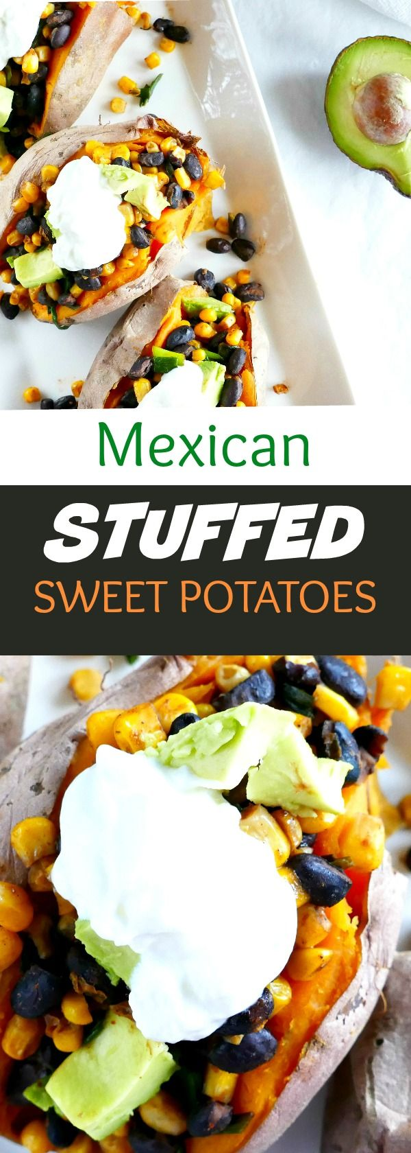 These vegetarian stuffed sweet potatoes are a perfect easy meal! Featuring black beans, corn, scallions, and avocado. | itsavegworldafterall.com