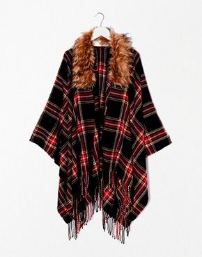 River Island Tartan Faux Fur Trim Cape