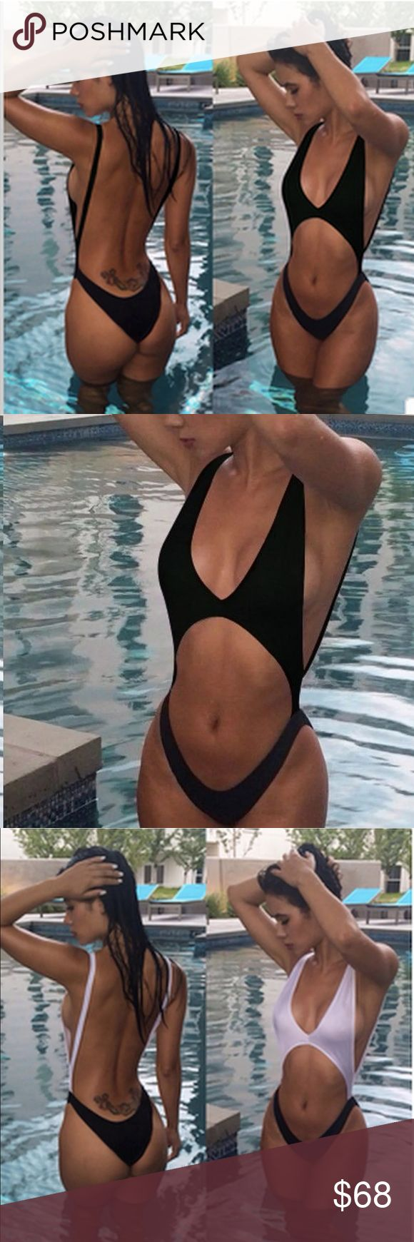 "• Just in! • Sexy Black Monokini • • Just in! • Sexy Black Monokini • The ultimate 2017 swim suit trend is available in black (see other listing for black + white). Sizes Small & Medium • Limited quantity • Excellent quality material (bikini is lightly padded so no ""see through"" issues! - Beware of others selling inferior quality! ) • Close up pics of actual suit Swim One Pieces"