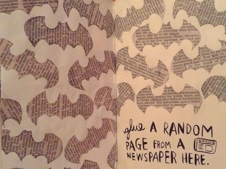 My Wreck this journal glues a random page from a newspaper