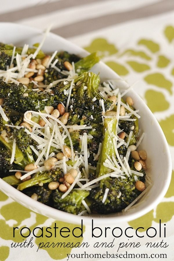 Roasted Broccoli with parmesan cheese and pine nuts www.yourhomebasedmom.com