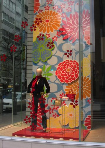 """LOVE the colors! Easy to recreate without the coach logo! """"Coach Spring Window Display"""""""